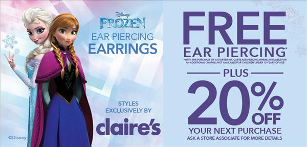 image relating to Claire's Printable Coupons identified as Claires boutique ear piercing coupon : Simplest tv set specials less than 1000
